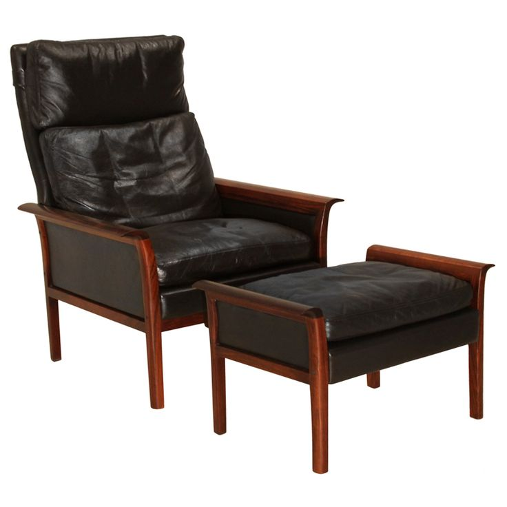 Rosewood and black leather chair and ottoman by Vatne Mobler | From a unique collection of antique and modern lounge chairs at http://www.1stdibs.com/furniture/seating/lounge-chairs/