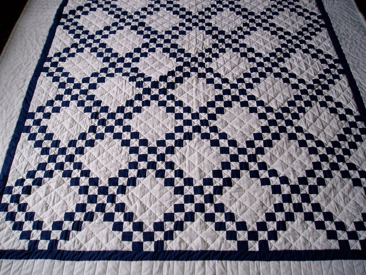 Navy Blue And White Quilt