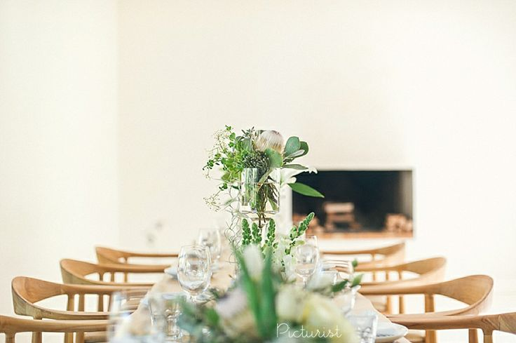Beautiful neutral wedding decor. From Carla & Werner's wedding at Maison Estate in Franschhoek.