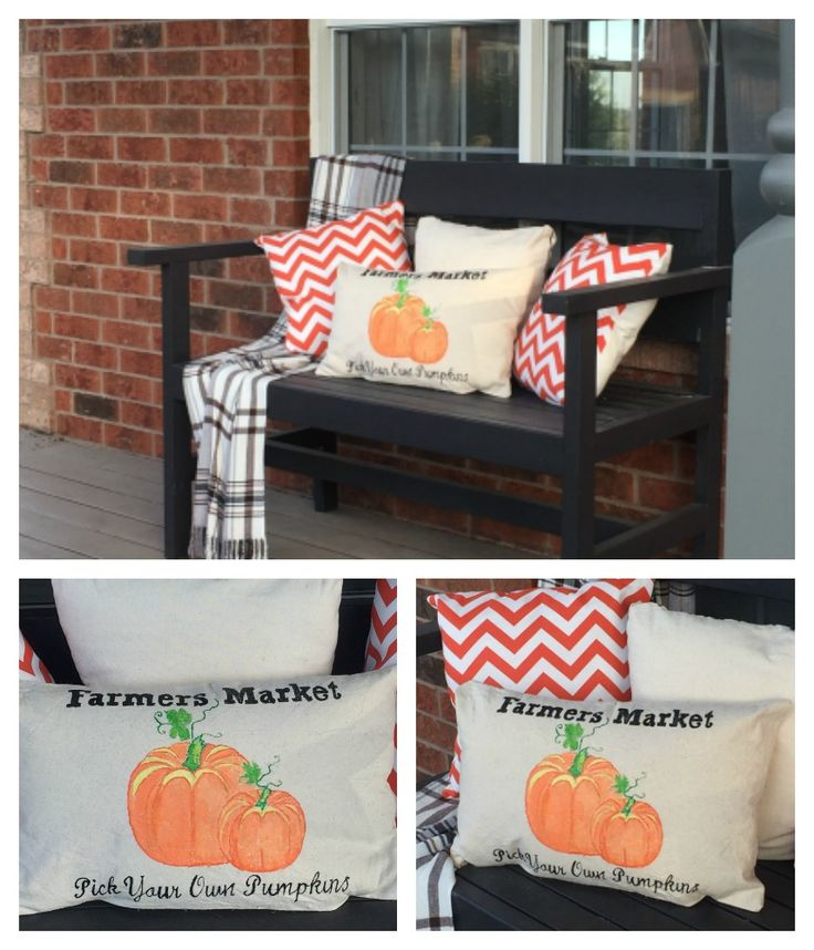 DIY bench and DIY fall throw pillows