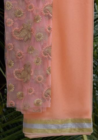 Peach Saree with embroidered blouse piece