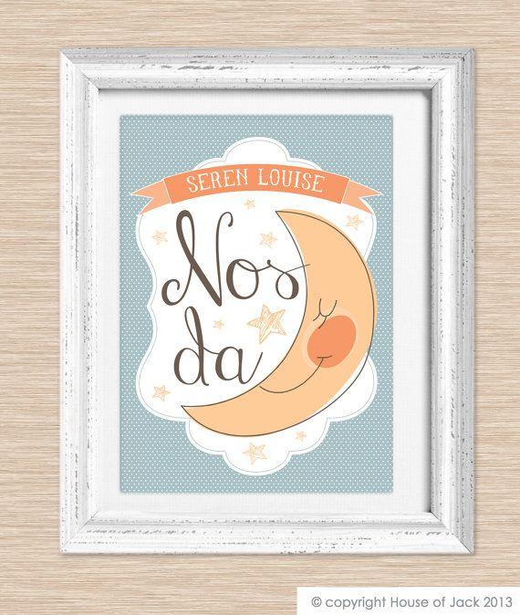 """Nos Da"" means ""good night"" -- Personalised Art Print - Welsh Words - Nos Da via Etsy"