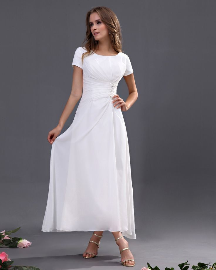 scoop short sleeves ankle length white evening dress