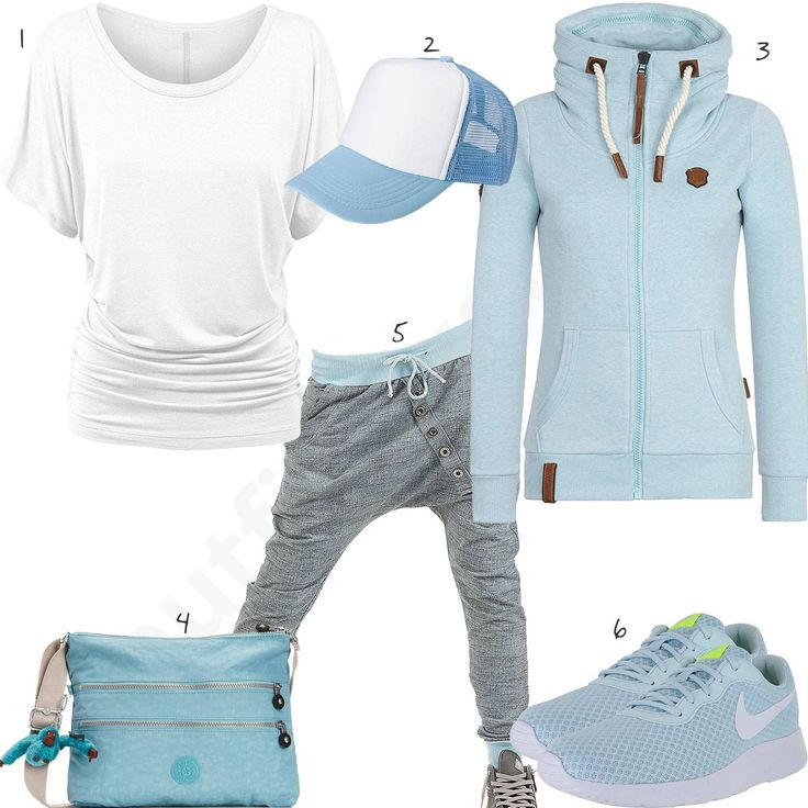 Schickes Damen-Outfit mit weißer Bluse, Stylebreaker Mütze, hellblauem Hoodie, Kipling Handtasche, Sweatpants und Nike Schuhen. #hoodie #kipling #stylebreaker #outfit #damenmode #fashion
