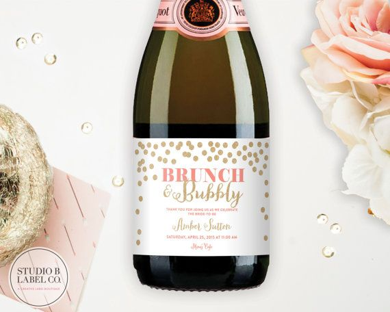 Bridal Shower Wine Labels Mini Champagne Labels by StudioBLabels