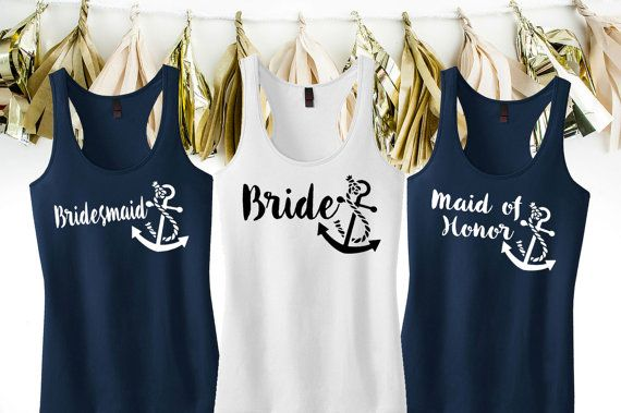 Anchor Tank Tops  Nautical Bridal Party Tank Tops  by KTeesDesigns