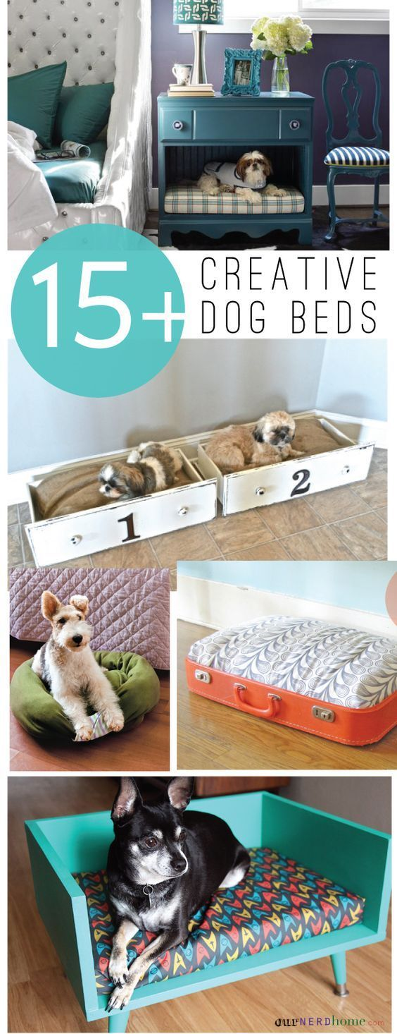 15+ Creative DIY Dog Beds | http://landeelu.com  So many cute ideas to make a fun bed for your fur baby!