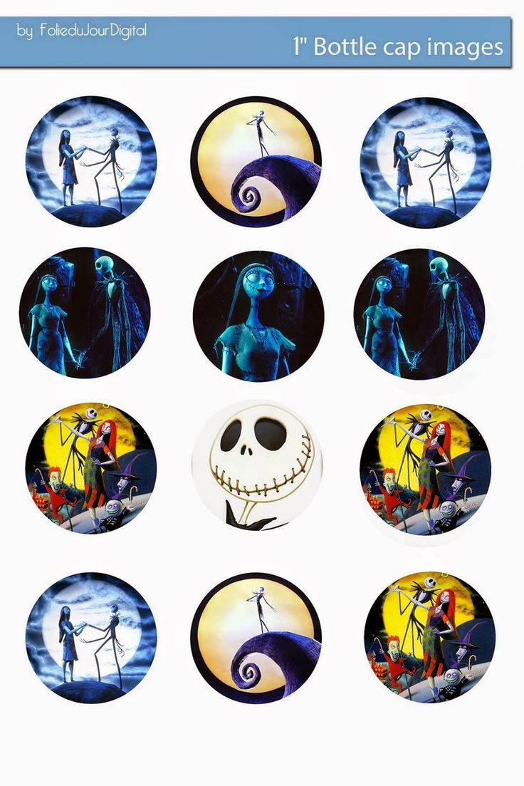 Free Bottle Cap Images: Free The Nightmare before Christmas digital bottle cap images