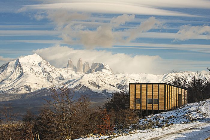 Unique winter experience at one of Awasi Patagonia's independent villas with incredible views of the forest, Sarmiento Lake and Torres del Paine National Park. #Chile #snow #mountains #wildlife