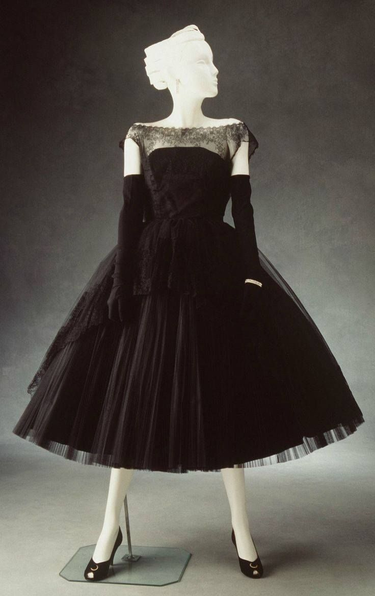 Evening dress, womens, with petticoat, nylon, unknown maker, [New York, United States of America], c. 1954