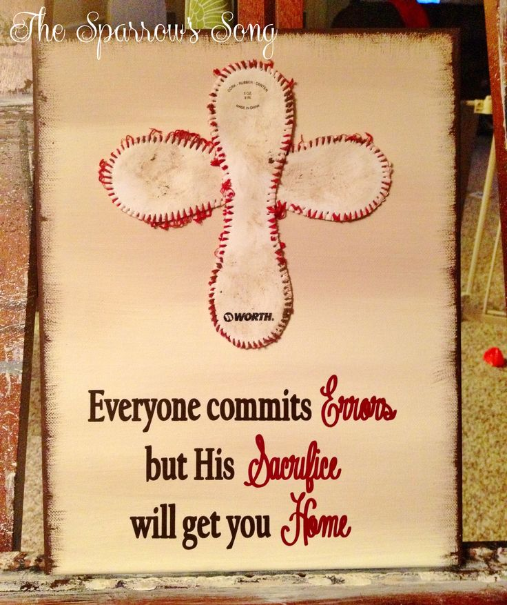 "11"" x 14"" Baseball Cross ~ $25 + shipping (based on location) ~ Vinyl on canvas  @ www.thesparrowssong.net"