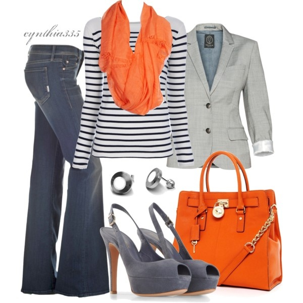 Pops Of OrangeOrange, Colors Combos, Casual Outfit, Casual Friday, Style, Boots Cut Jeans, Michael Kors, Mk Bags, Fall Outfit