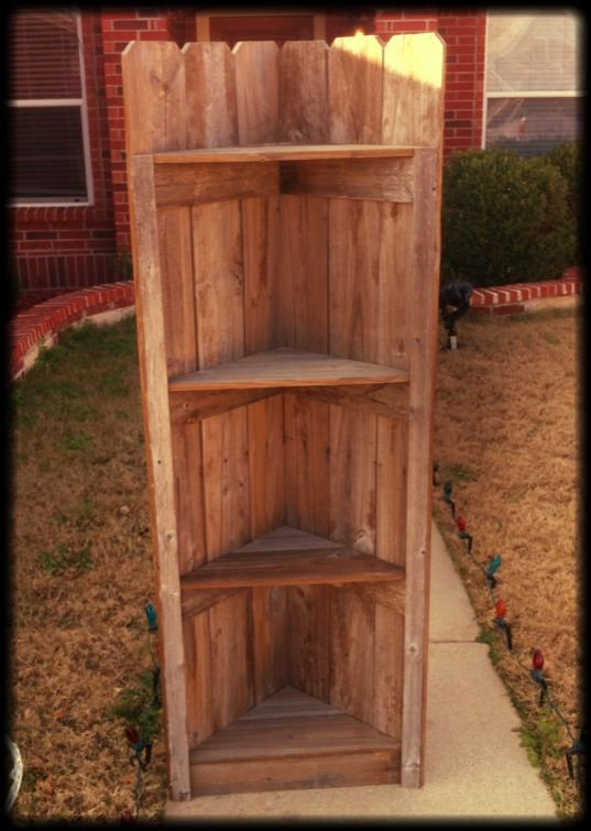 Rustic Corner Shelf | Old Fence Projects | Pinterest ...