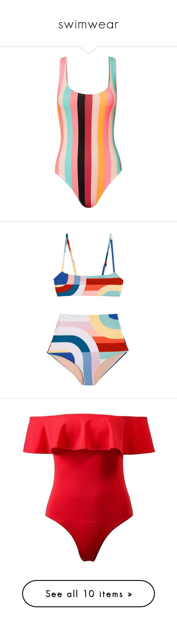 """swimwear"" by ellesay ❤ liked on Polyvore featuring swimwear, one-piece swimsuits, swimsuit, bathing suit, stripe, swim, swim costume, one piece maillot swimsuits, one piece swimsuit and maillot bathing suit"