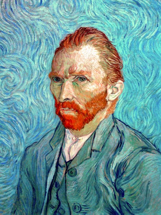 Vincent van Gogh: Self-Portrait. Oil on canvas. Saint-Remy: September, 1889. Paris: Musee d'Orsay.
