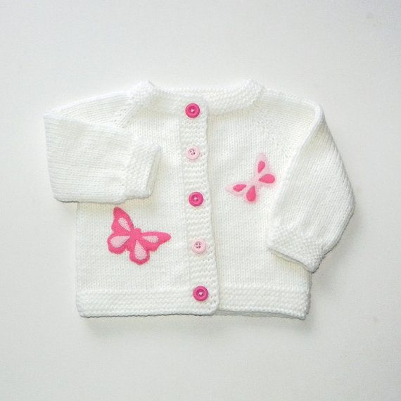 White baby girl jacket with pink butterflies knit by Tuttolv