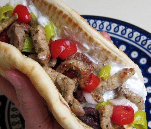 Greek Souvlaki Sandwich ♦ Marinated Greek pork, Tzatziki sauce, thinly sliced sweet onions, sliced kalamata olives, sliced Greek pepperoncini peppers, sliced tomatoes, shredded lettuce...