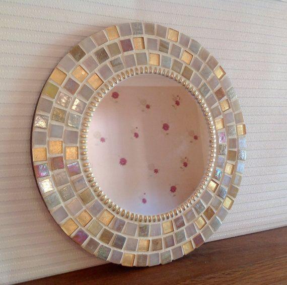 Round Mosaic Wall Mirror In Gold U0026 Cream 30cm By PineappleMosaics