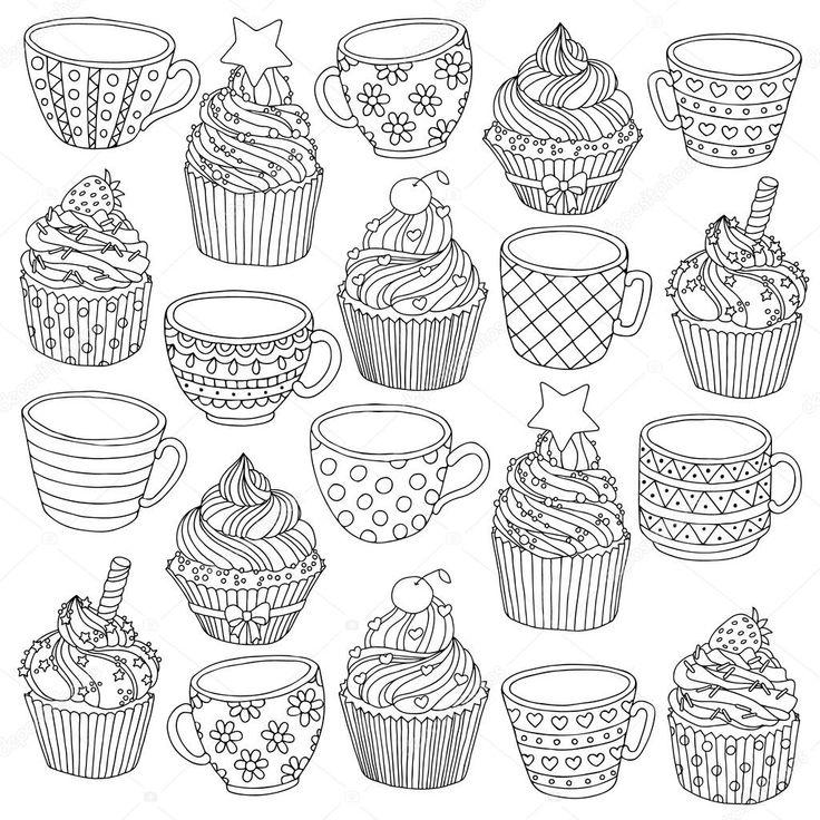Скачать - Вектор рисованной чашки кекс Иллюстрация для ...