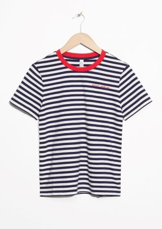 & Other Stories image 2 of Contrast Neck Striped Tee in Blue
