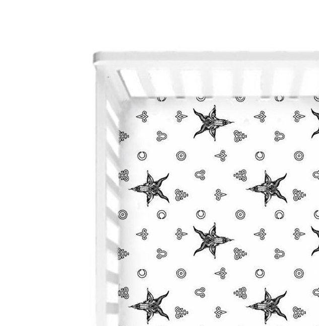 Baphomet Crib Sheets Occult Baby Bedding Satanic Symbols Black White Infant Cot Sheet Metalhead Baby Shower Gift Goth Art Nursery Decor Baby Bed Nursery Decor Nursery Art