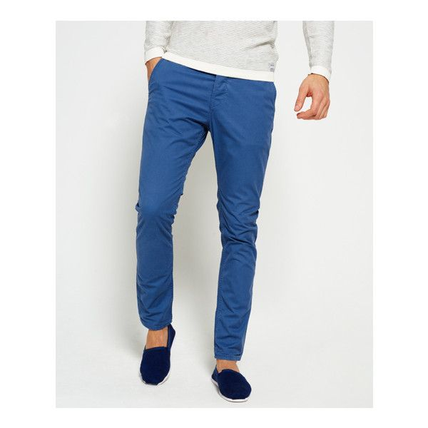Superdry Rookie Chino Trousers ($55) ❤ liked on Polyvore featuring men's fashion, men's clothing, men's pants, men's casual pants, blue, mens chinos pants, mens 5 pocket pants, mens chino pants, mens blue pants and mens blue chino pants