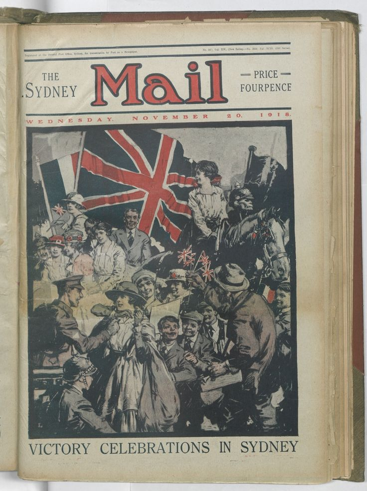 Victory celebrations in Sydney. Front cover of the 20 November 1918 issue of the Sydney Mail. To order a fine art print of this image, please call the Library Shop on 61 2 9273 1611, quoting digital order number a9609225. http://acms.sl.nsw.gov.au/album/albumView.aspx?itemID=1064155&acmsid=0, image no. 225.