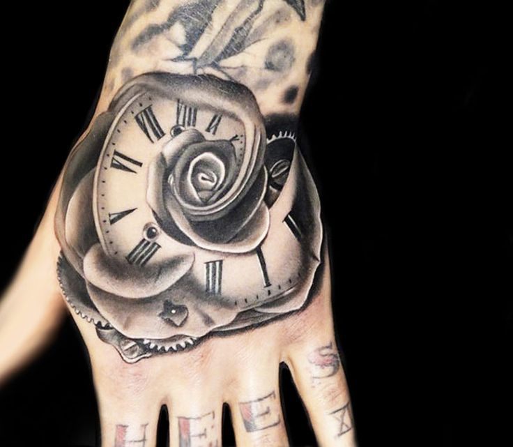 time rose tattoo by andres acosta