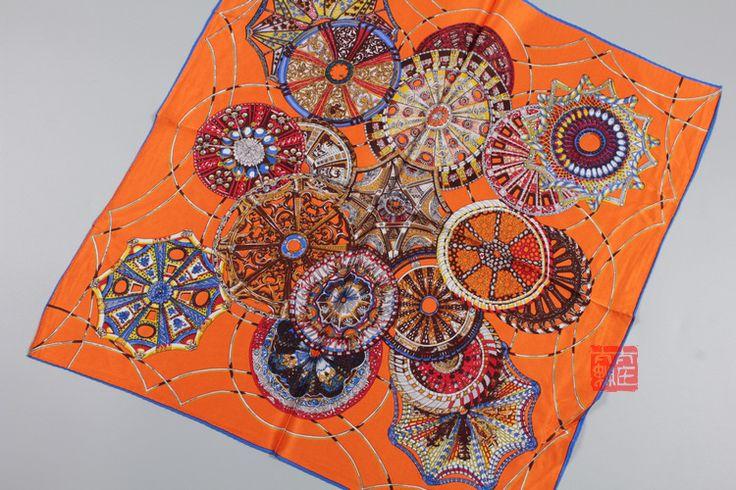 Женщины 100% чистого шелка шарф мода дамы небольшой площади шейный платок фуляр écharpe 52 * 52 см оранжевая роза синий купить на AliExpress