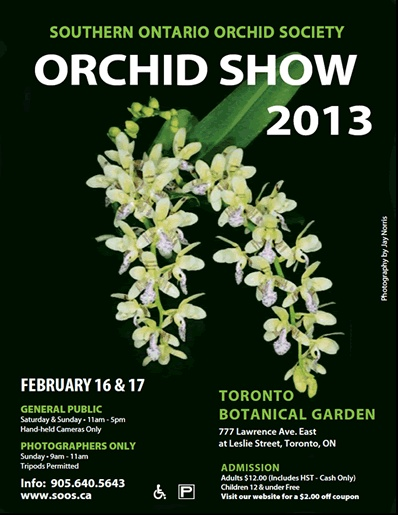 February 16 & 17, 2013 at the Toronto Botanical Garden.  $12 for adults, children under 12 free.