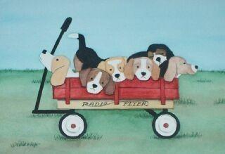 Beagle family going for a wagon ride / Lynch por watercolorqueen