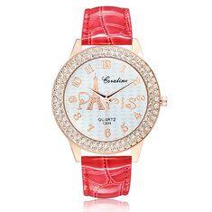 #Banggood Мода горный хрусталь Эйфелева башня шаблон PU кожаный ремешок аналоговые часы женщины Наручные (1031489) #SuperDeals