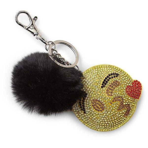 Bari Lynn Kissy Emoji & Fox Fur Pom-Pom Keychain ($21) ❤ liked on Polyvore featuring accessories, neutral, keychain key ring, ring key chain, fob key chain, key chain rings and pom pom key chain