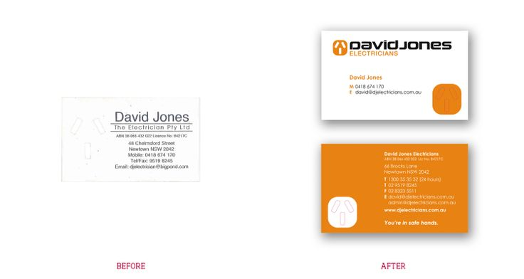 David Jones Electricians is a classic before  after project. Wanting to build his business, David Jones approached Stella Design to design a brand that would demonstrate the pride he takes in his work. The key brand attributes were quality, safety, reliability  responsibility. Stella Design used an enlarged power point as a symbol for the brand that has had strong retention. Bold use of colour increased the impact of the brand. The tagline emphasises the importance of safety in the business.