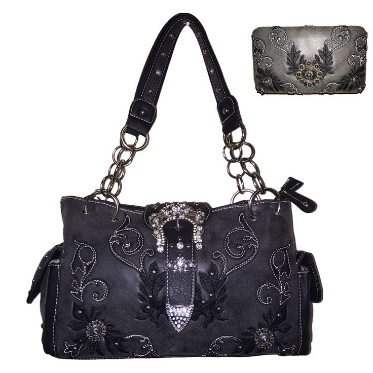 Texas West Western Buckle Concho Concealed Carry Purse with Matching Wallet One Set in 5 Colors (Black Set 2)