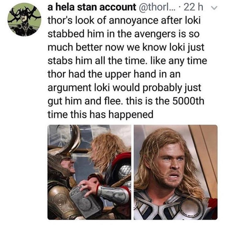 """""""Seriously, Loki!? I'm getting real sick of your shit"""" -Thor"""