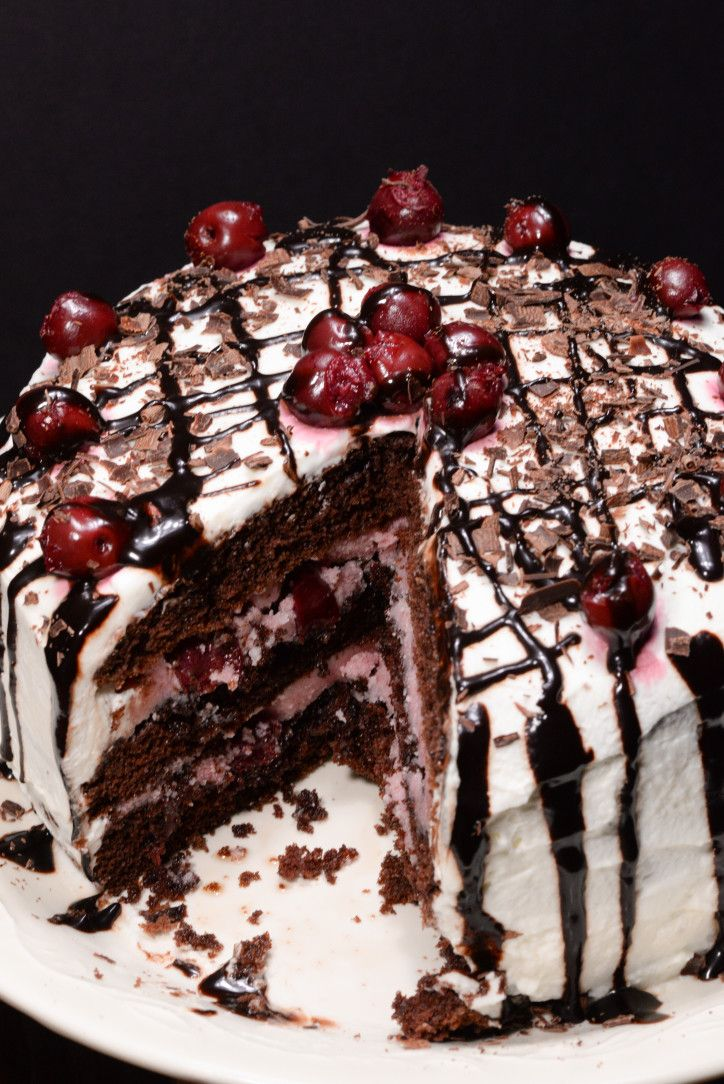 "German black forest cake traditionally is an ""adult"" cake made with a cherry liquor called kirsch that comes from the Black Forest region of Germany.  In North America this cake is often found made with a sweet cherry pie filling which is not anything like the real thing.  I was ..."