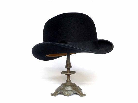 Bowler Hat Mode De Paris Vintage French Antique Felt Black Etsy French Vintage Victorian Man French Antiques