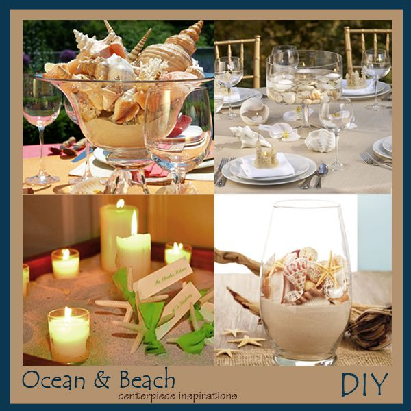 DIY Beach And Shells Wedding Centerpieces