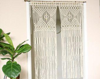 bead fringed door curtain macrame for a door with tiebacks para