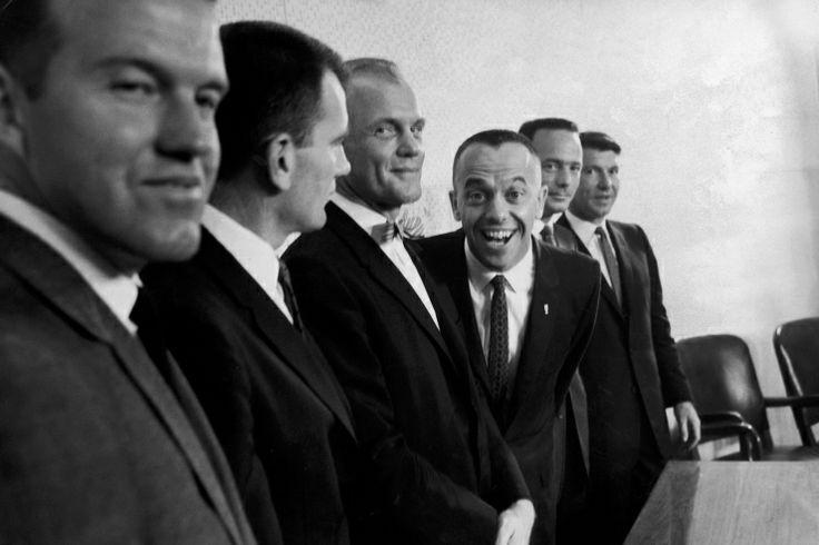 Six of the original seven Project Mercury astronauts: Gordon Cooper, Deke Slayton, John Glenn, Alan Shepard, Scott Carpenter and Wally Schirra, press conference, 1961.