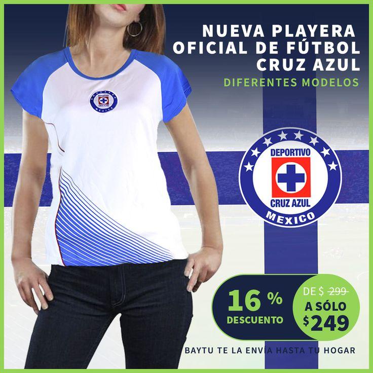 Obtén tu playera oficial del Cruz Azul, Baytu te la envía hasta tu hogar ;) #ElQueBuscaEncuentra #CruzAzul #LigaMx  https://baytu.mx/mujer/1052-playera-para-dama-de-f%C3%BAtbol-del-equipo-cruz-azul.html