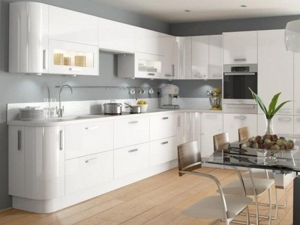 modern white kitchen ideas glossy surface gray kitchen wall color glass table…