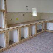 Cucina in muratura in costruzione
