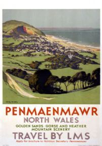 Penmaenmawr Dwygyfylchi Conwy Wales LMS Vintage Travel Poster by Chas Pears