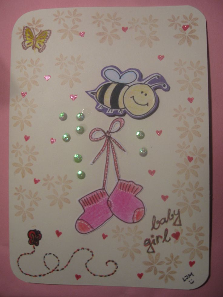 Baby born card (for baby girl)