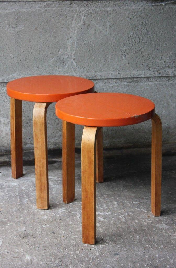 2x Aalto stools, Finmar-tagged abelsloane1934.com
