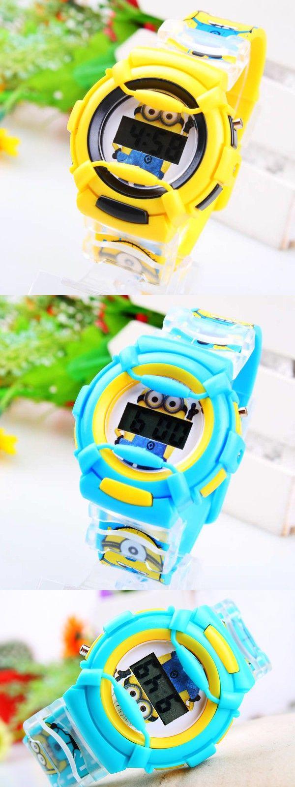 HOT !New arrival Minions Watch Children 3D Eye Despicable Me Minion Fashion Cartoon digital kids Wrist Watch