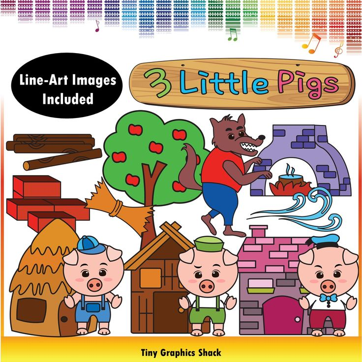Three Little Pigs Clipart: straw house, stick house, brick house, tree, pig 1, pig 2, pig 3, boiling water in a pot, wolf, bricks, sticks, straw, wind, Three Little Pigs wooden sign