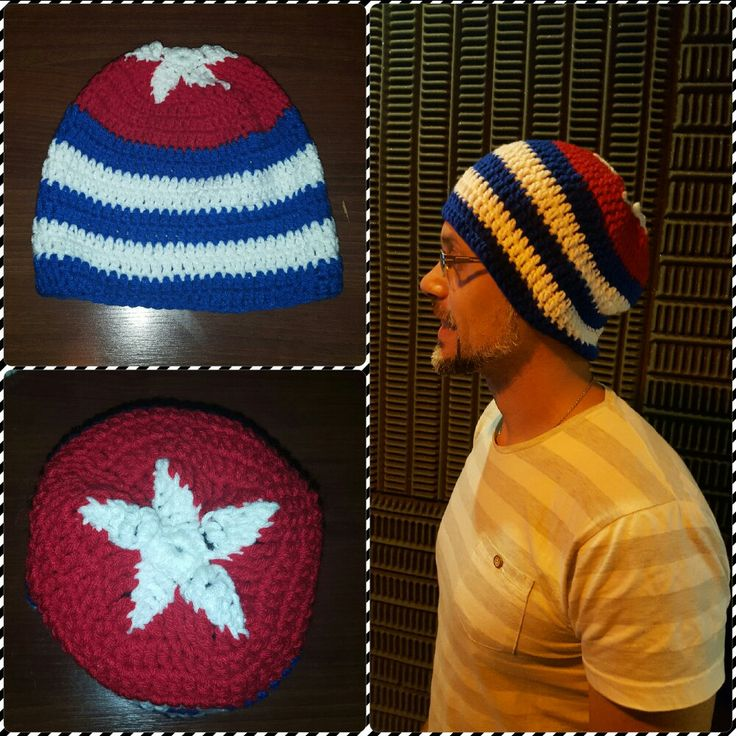 Gorro tejido al crochet - bandera de Cuba - T:adulto